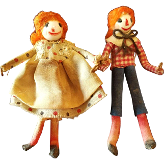 """Vintage Artist Miniature Raggedy and Andy Pair 2"""""""