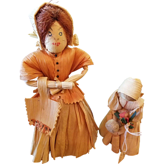 Adorable Vintage Corn Husk Doll Lot