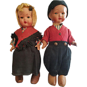 Vintage Terracotta Doll Pair Marked VH