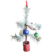 Vintage Doll House Feather Christmas Tree with Ornaments