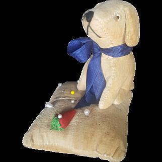 Wonderful Early 1900's Velveteen Velvet Dog on Pincushion