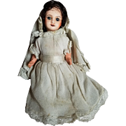 Wonderful Early 1900's SFBJ Bisque HEad Doll in Communion Dress