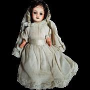 Wonderful Early 1900's SFBJ Bisque HEad Doll in Communion Dress