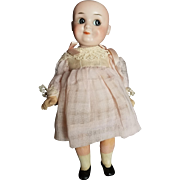 "Wonderful Vintage Bisque Demacol 9 1/2"" Googly Doll with Cute Outfit"