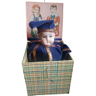 Vintage Bisque Head Germany Jack in the Box Doll
