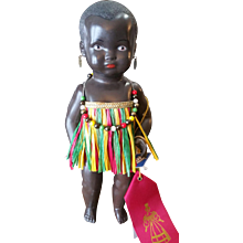 "Vintage 10 1/2"" Celluloid African Child Doll with Tag"