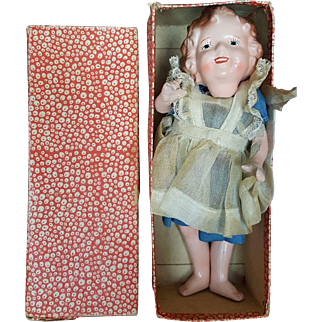 """1930's Composition 8"""" Japan Shirley Temple Doll in Oriignal Box"""