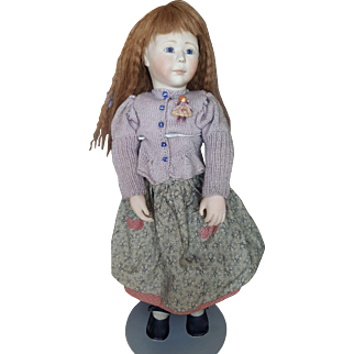 """Vintage Early 20"""" Lynne and Michael Roche Bisque and Wood Hannah Doll"""
