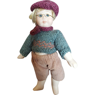 """Vintage 1991 Lynne and Michael 5"""" All Bisque Tom Doll"""