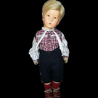 "Wonderful Vintage 21"" Cloth Kathe Kruse Boy Doll"