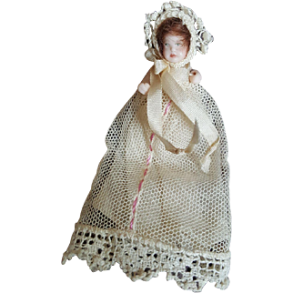 """Vintage Doll Artist All Bisque 1 1/2"""" Doll House Baby"""