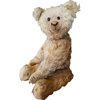 """Wonderful 15"""" Vintage 1920's Wavy Mohair Teddy Bear with Shoe Button Eyes"""
