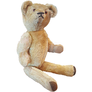 """Vintage 1920's 18"""" Mohair Teddy Bear with Squeaker Paw Pads NEAT!"""