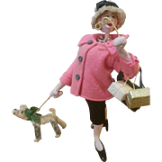 "Vintage 1940's Spain 10""  Klumpe Shopper Woman Doll with Dog"