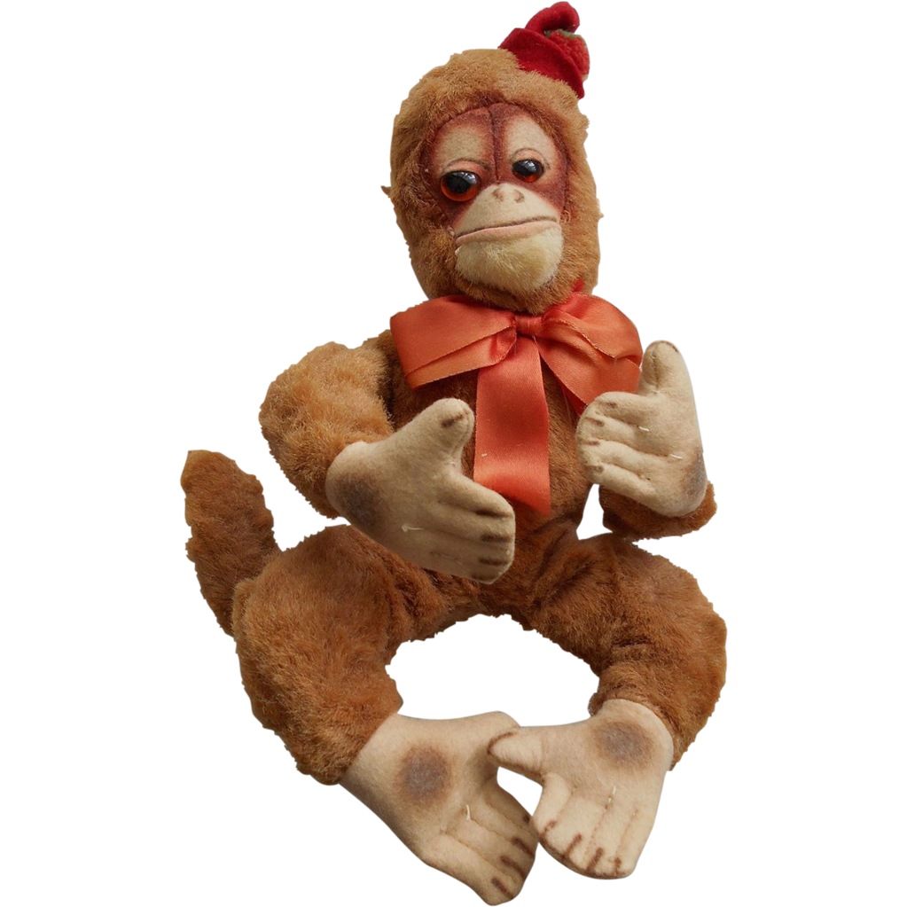 "Vintage 11"" Stuffed Plush Monkey by Character USA All Original"