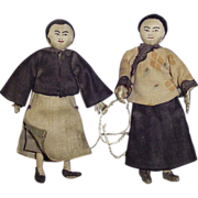 """1920-30s Unique 3 1/2"""" Cloth Chinese Dolls ~ Dollhouse Size"""