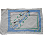 1930s Dionne Quintuplets (Climbing the Stairs) Baby or Child Pillowcase ~ Designed by Tom Lamb