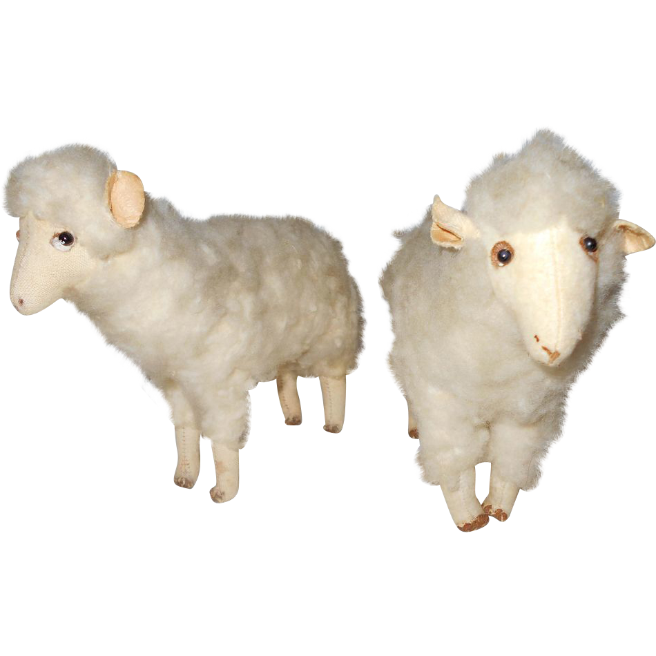 Delightful Pair of Vintage Primitive Cloth Wooly Sheep or Lambs ~ Handmade Toys