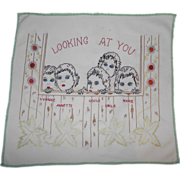 "1930's Embroidered ""Looking At You"" Dionne Quintuplets (Country Doctor) Tablecloth Linen"