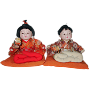Vintage 1960's Japanese Gofun Ichimatsu Baby Doll Twins ~ All Orig w/ Character Faces Cushions and Rattles