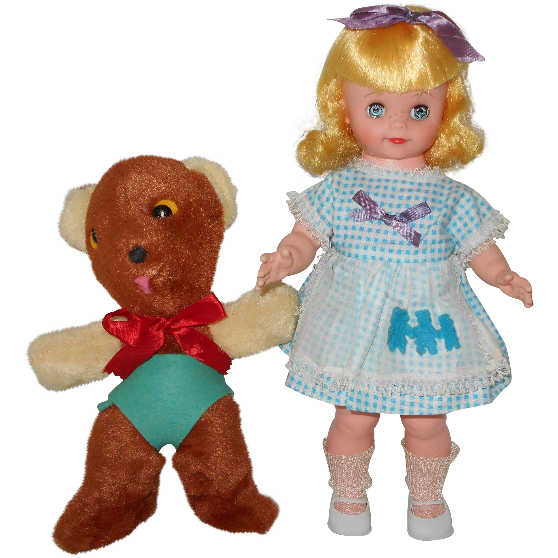 Vintage 1960s Allied Toy Goldilocks and Baby Bear Doll Set