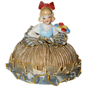 Vintage 1920-30s Pincushion or Half Doll ~ Petite Little Miss Holding Flower Tray All Orig with Silk Ribbons ~ Germany or Japan