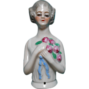 Vintage 1920-30s Pincushion or Half Doll ~ Colonial Gray Haired Lady w/ Flapper Eyes ~ Holding Bouquet of Roses ~ Germany 13306