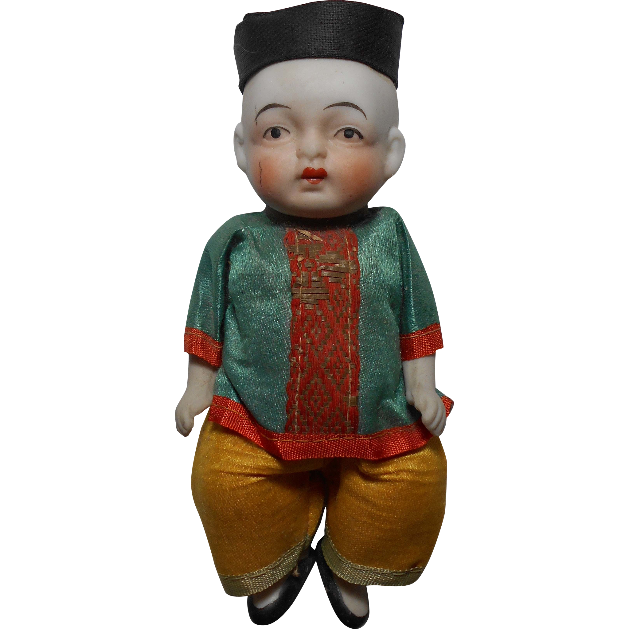 """1920-30s White Bisque 5"""" Chinese (Baby) Boy Doll All Original ~ Made in Japan"""