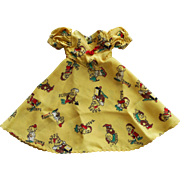 Unique Vintage 1930-40s Snow White Doll Dress w/ Disney Seven Dwarfs Print ~ Factory Made ~ Rare