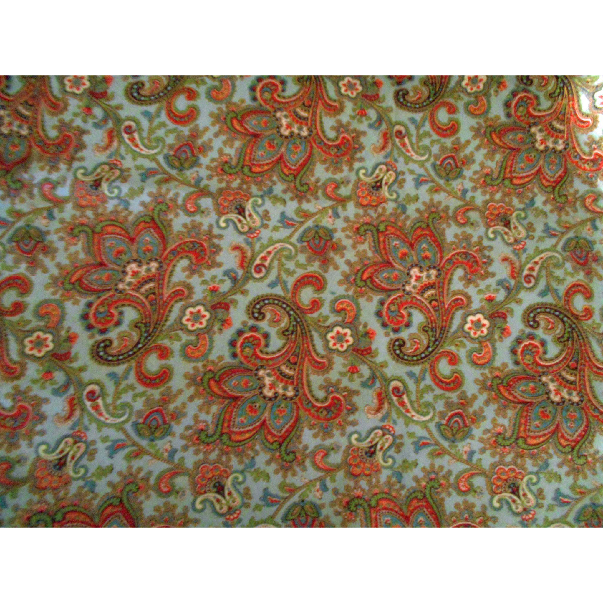 "Vintage 1920's Flannel Fabric - Stylized Floral Spray Paisley - 4 1/2 Yards 26 1/2"" Wide"