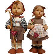 Vintage Early 1950s Rubber M.I. Hummel Hansel and Gretl Dolls ~ All Orig w/tags W. Goebel Full Bee