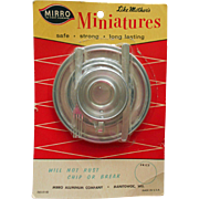 "Vintage Mirro Aluminum ""Like Mother's Miniatures"" Doll Toy Serving Set Mint on Card"