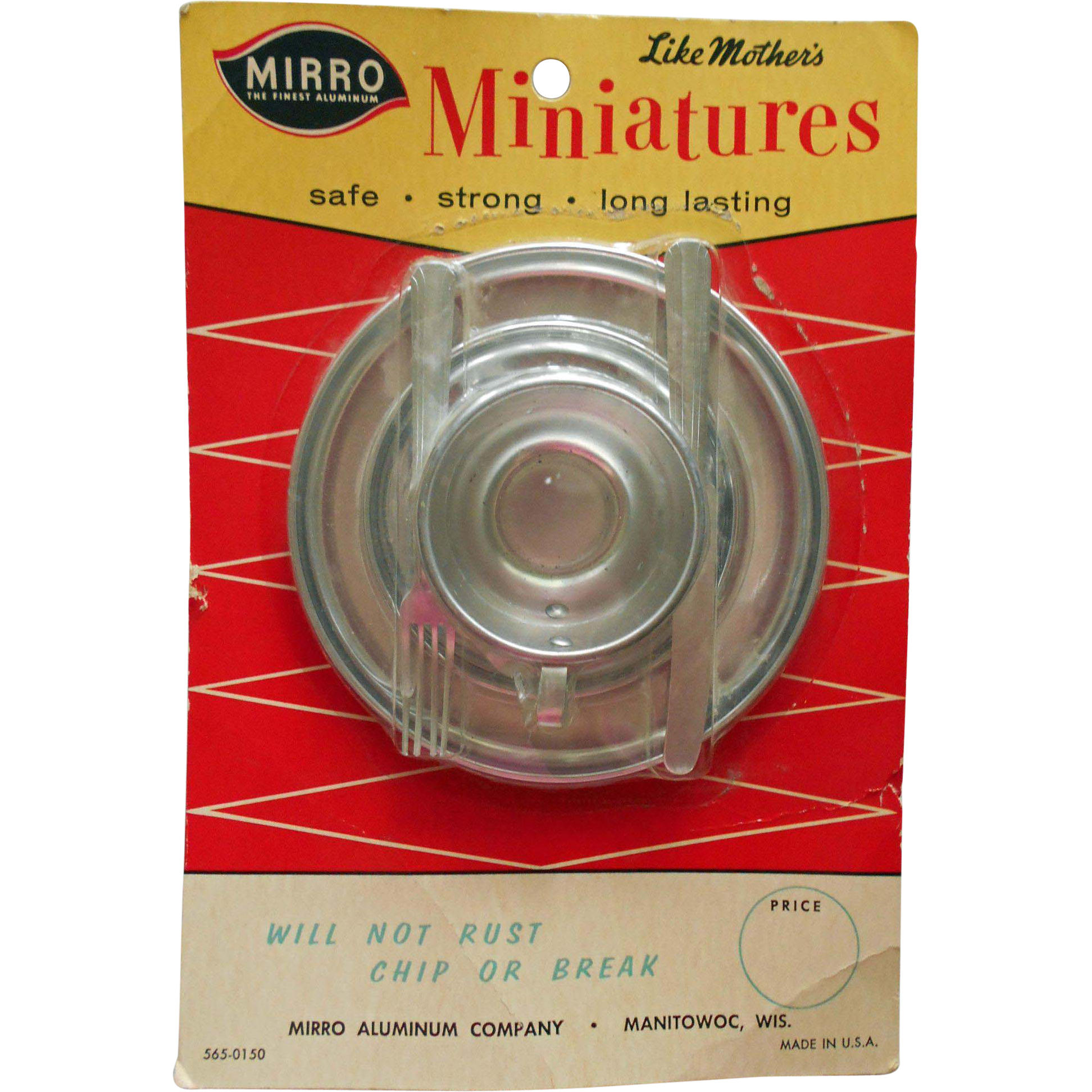 """Vintage Mirro Aluminum """"Like Mother's Miniatures"""" Doll Toy Serving Set Mint on Card"""