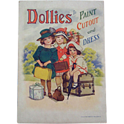 "1918 Saalfield ""Dollies to Paint Cutout and Dress"" Paper Doll Paint Book"