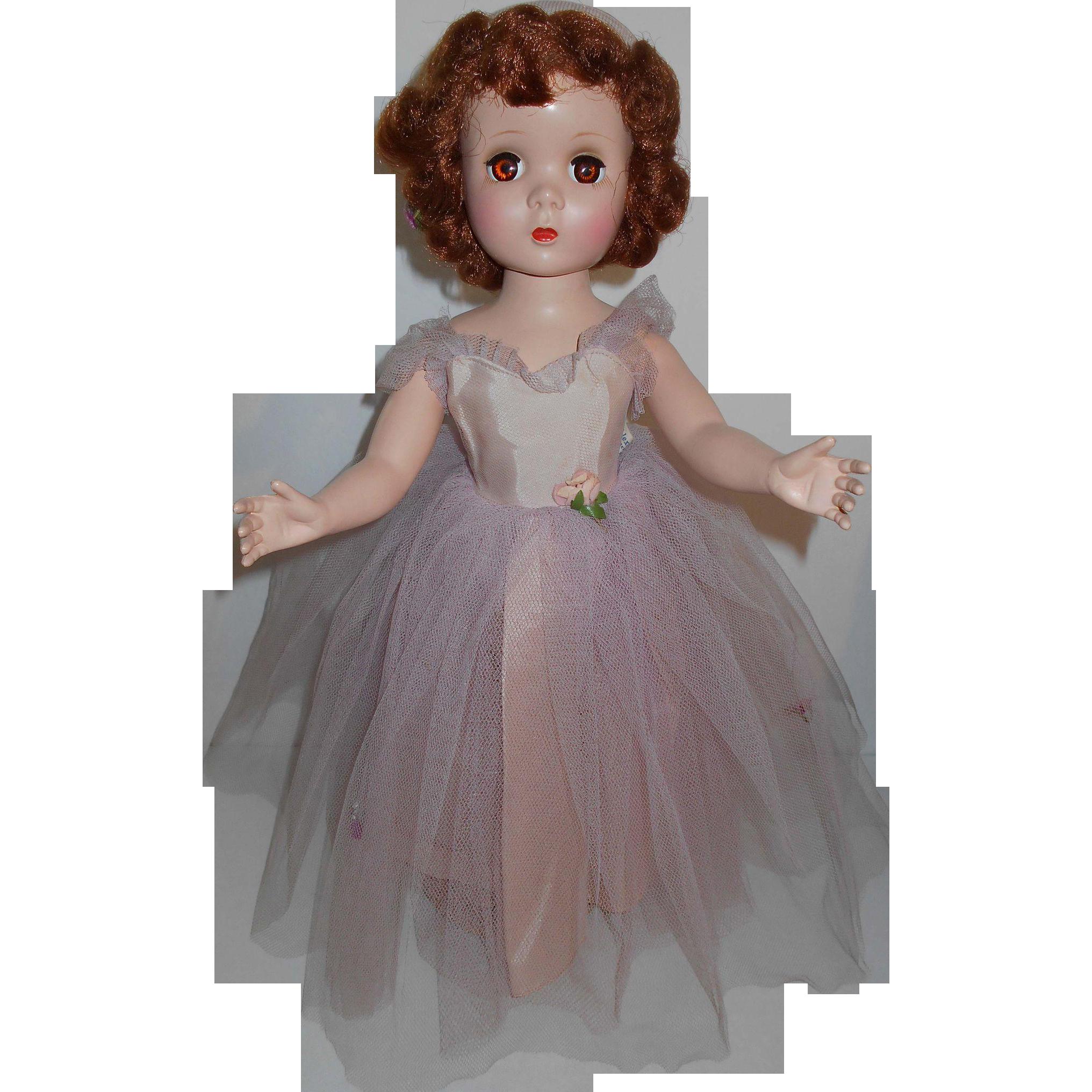 Madame Alexander ROSAMUND BRIDESMAID Doll ~ Hard Plastic Walker Maggie Face Red Head All Original