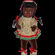 """Vintage 11"""" Black Girl Doll Made in England ~ Felt Mask Face Velvet Body All Orig"""