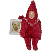 "OOAK ""MiMi"" Red Mohair Teddy Bear Celluloid Doll Muff Signed 2008 by Artist KAREN MEER (The Mad Hatted Bear)"