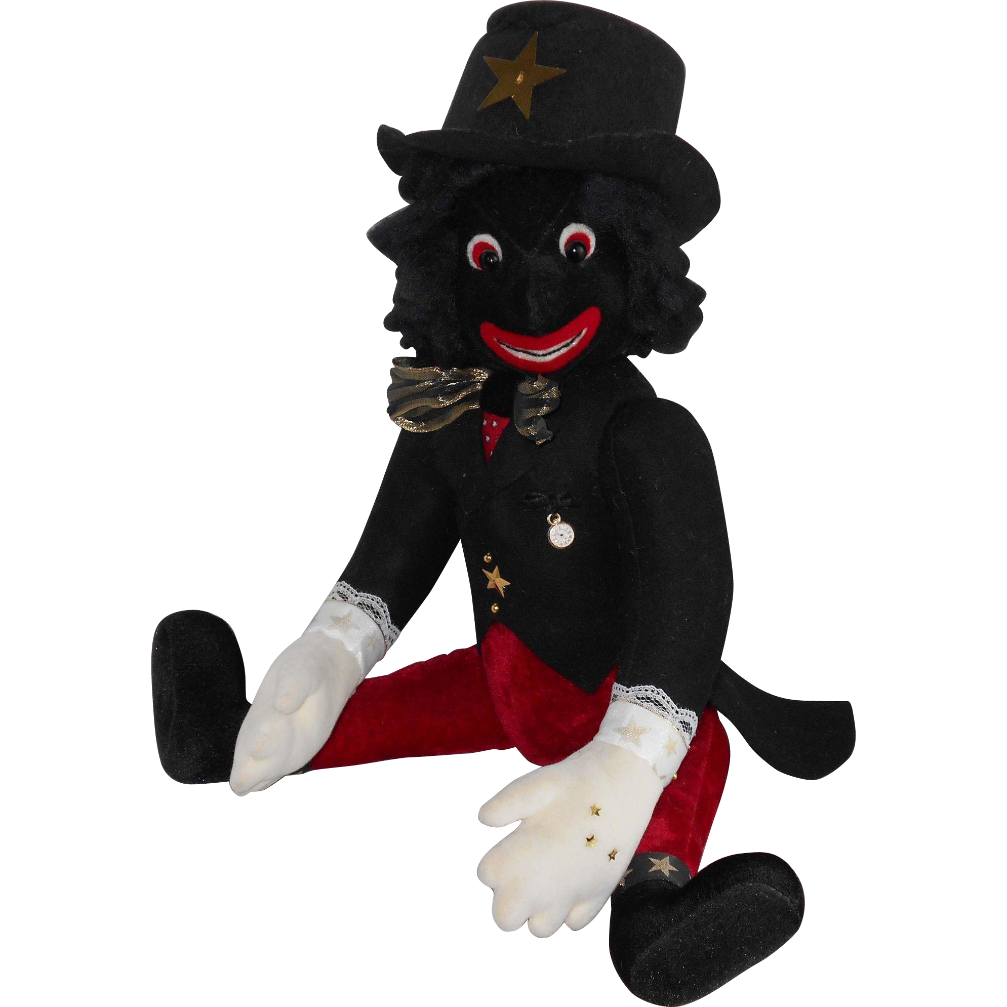 "Stunning 21"" OOAK Velvet Felt Golliwog Golly Doll Signed & Dated 1996 by Artist KAREN MEER (The Mad Hatted Bear)"