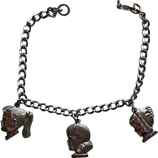 """Vintage 1950-60s Vogue """"For Ginny's Mother"""" Charm Bracelet w/ Silhouette Charms of Ginny Ginnette and Jill by Speidell"""