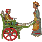 Early 1900's Meir German Penny Tin Litho Toy Mother Pushing Child in Cart Walker Walking Toy