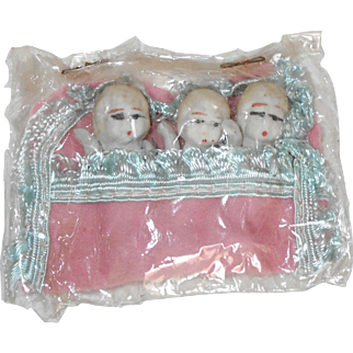 1930'S Japanese Bisque Triplets Dolls in Orig Bunting and Cellophane Packaging