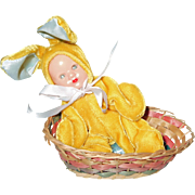 1950s Hollywood Doll Easter Bunny Rabbit Baby Doll in Original Basket