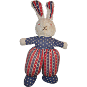 Vintage 1930-40's Patriotic Theme Cloth Plush Bunny Rabbit Doll