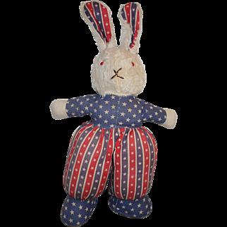 Vintage 1930-40's Patriotic Theme Cloth Plush Bunny Rabbit Doll