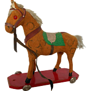 Vintage Tan Flannel Wheeled Pull Toy Horse Doll Size