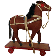 Vintage Brown Felt Wheeled Pull Toy Horse Doll Size