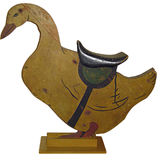 Vintage Painted Wood Folk Art Carousel Riding Goose (Converted to Display Prop for Dolls or Teddy Bears)