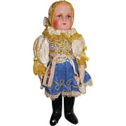 Vintage 1940's Czech Czechoslavkia Doll with Handpainted Celluloid Head and Cloth Body All Original