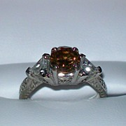 Chocolate Cognac Diamond and White Zircon Art Deco Ring