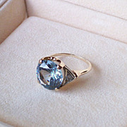 Circa 1940 Synthetic Cornflower Blue Sapphire and 14 Karat Gold Ring